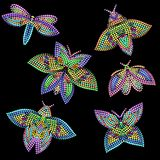 Vector set of different butterflies. Vivid design of small dots for interior decoration, clothing. Colorful tattoo templates Stock Image