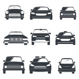 Vector set of different car icons in front view. Set of different car icons front view. Vector illustration royalty free illustration