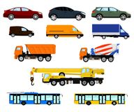 Vector set of different car, vehicle and truck. Passenger car, delivery vehicle, construction truck and city public. Set of different car, vehicle and truck Stock Photos