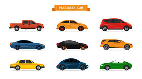 Vector set of different cars isolated on white background. Car icons and design elements. Royalty Free Stock Photo