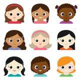 Vector set of different cartoon girls. Avatars Royalty Free Stock Photo