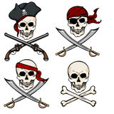 Vector Set of Different Cartoon Pirate Skulls Stock Photo