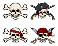 Vector Set of Different Cartoon Pirate Skulls Stock Photos