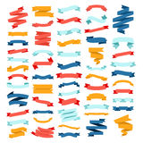Vector set of different color flat ribbons on a white background Stock Images