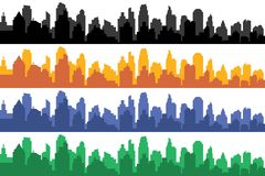 Vector set of different color horizontal cityscapes. Vector city silhouettes, element for design banners,web design, architectural backgrounds royalty free illustration
