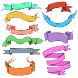 Vector Set of Different Color Sketch Ribbons Royalty Free Stock Photo