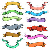 Vector Set of Different Color Sketch Ribbons Royalty Free Stock Photography