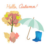 Vector set of different colorful autumn elements. Childish Doodl Royalty Free Stock Image