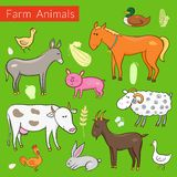 Vector set of different colorful farm animals Stock Images