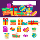 Vector set of different colorful gift boxes with ribbons and bows. Flat design. Stock Photo