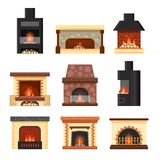 Vector set different colorful home fireplaces with fire and firewood isolated on white background. Design elements for Royalty Free Stock Photography