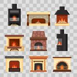 Vector set different colorful home fireplaces with fire and firewood on transparent background. Design elements for room. Interior in flat style - stock Royalty Free Stock Photo