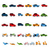 Vector Set Of Different Colorful Vehicles Isolated stock illustration