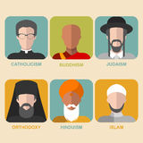 Vector set of different confession man. People of different religion in traditional clothing in trendy flat style. Stock Images