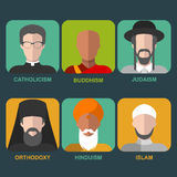 Vector set of different confession man. People of different religion in traditional clothing in trendy flat style. Royalty Free Stock Photo