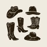 Vector Set of Different Cowboy Hats and Boots silhouette stock illustration