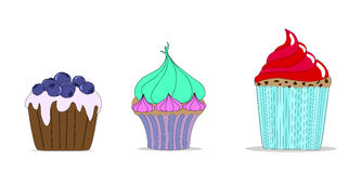 Vector set of different cute cupcakes. Royalty Free Stock Photo