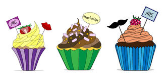 Vector set of different cute cupcakes.  Stock Photos