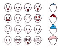 Vector set of different emotions. royalty free illustration