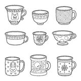 Vector set with different empty cups Royalty Free Stock Photography