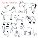 Vector set of different farm animals Royalty Free Stock Image