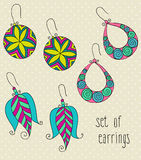 Vector set of different female earrings Stock Images
