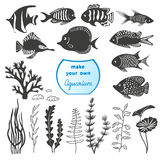 Vector set of different fishes and decorations for making your own aquarium. Tropical fish and seaweeds silhouettes  on white background Royalty Free Stock Photos