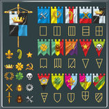 Vector set of different flag shapes. Symbol elements collection. Heraldry elements. For game clans. Various flags of the clans in shape, color and symbol Vector Illustration