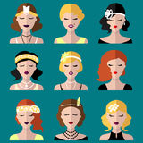 Vector set of different flapper girls icons in modern flat style. Stock Photo
