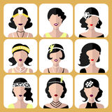 Vector set of different flapper girls icons in modern flat style isolated on white background. stock illustration