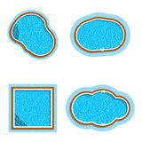 Vector set of different form swimming pools. Isolated on white background. Stock Photos