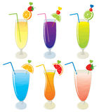 Vector set of different fruit, alcohol layered cocktails and different fruit milk shakes. Stock Photography