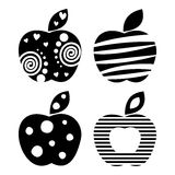 Vector set of different fruits illustrations. Decorative ornamental black and white apples isolated on the white background. Stock Images