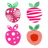 Vector set of different fruits illustrations. Decorative ornamental colorful strawberries isolated on the white background. Stock Photography