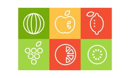 Vector set of different fruits in linear style isolated in colorful squares. Natural products. Healthy food vector illustration
