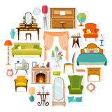 Vector set of different furniture. Furniture set isolated on white background. Different furniture and home decoration in the form of a circle. Elements of Stock Photos