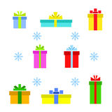Vector set of different gift boxes and snowflake Stock Images