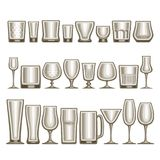 Vector set of different glassware. 24 empty glass cups various shape for alcohol drinks and cocktails, collection of grey shiny mock up icons for bar menu Stock Photography