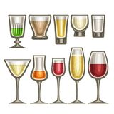 Vector set of different glassware. 10 half full glass cups with colorful spirit beverages various shape, collection icons of alcohol drinks red and white wine vector illustration