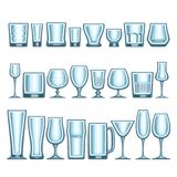 Vector set of different glassware. 24 empty glass cups various shape for alcohol drinks and cocktails, collection of blue shiny mock up icons for bar menu Stock Images