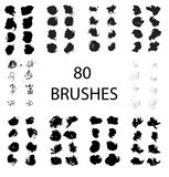 Vector set of 80 different grunge brush strokes. Royalty Free Stock Images