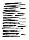 Vector set of 24 different grunge hand paint brush strokes Stock Image
