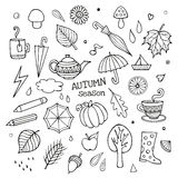 Vector set of different hand drawn autumn elements Stock Photo