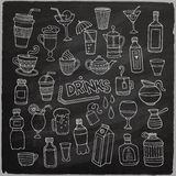 Vector set of different hand drawn beverages on Stock Images