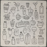Vector set of different hand drawn beverages Royalty Free Stock Image