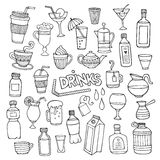 Vector set of different hand drawn beverages Stock Images