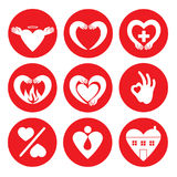Vector set of different heart logos. Signs of love and care. Valentines day heart greetings Royalty Free Stock Photo