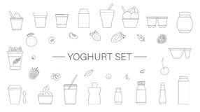 Vector set of different kinds of yoghurt with fruit and berry royalty free illustration