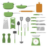 Vector set of different kitchen utensils and tools. Isolated on white background. Royalty Free Stock Images