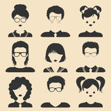 Vector set of different male and female children icons in trendy flat style.People faces.Collection of students avatars. Stock Photos